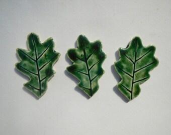 3 Oak Leaf Mosaic Tiles-Green leaf mosaic Tiles