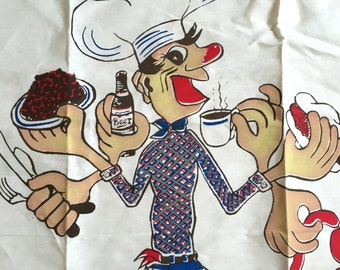 Vintage Full Apron BBQ Old Chow Hound Barbecue Cowboy Parvin Creations