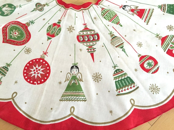 Mid century vintage christmas tree skirt angels shiny brite