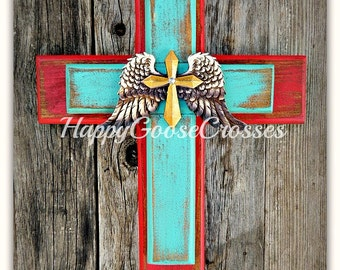 Wall Cross - Wood Cross - X-Small - Rustic Red and Turquoise with Wings