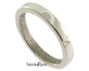 Narrow Fingerprint Ring, Custom Fingerprint Wedding, Commitment, or Anniversary Band