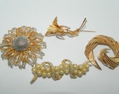 4 Vintage Brooches Gold Silver Tone AB Rhinestones Faux Pearls Signed LT Crown Trifari