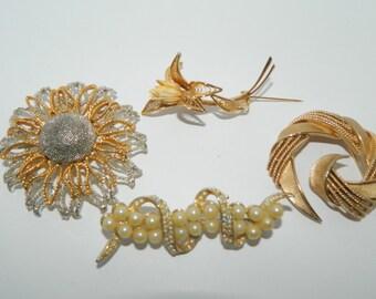 4 Vintage Brooches Gold Silver Tone AB Rhinestones Faux Pearls Signed LT Crown Trifari