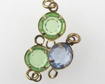 Vintage Bead Drop Peridot Light Sapphire Glass Channel Set Connector Charm Brass Mixed Lot 7mm uvf0360 (3)