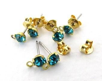 vintage earring post earwires with blue zircon teal swarovski crystal rhinestone brass finding erw0161 6 pc 3 pair
