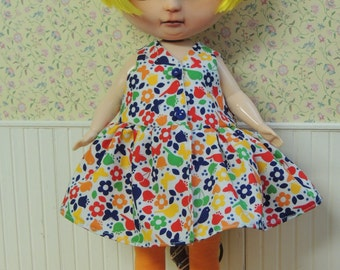 Colorful Wrap Dress and Tights Leggings for Plus-sized Blythe Mimi Doll