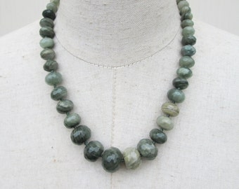 Moss Green Beaded Graduated Jade Necklace, Olive Grey Green Faceted Gemstone Beads