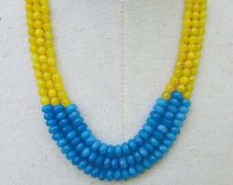 Yellow Blue Color Block Beaded  Necklace