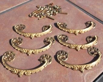 Set of 6 Fancy Brass Drawer Handles