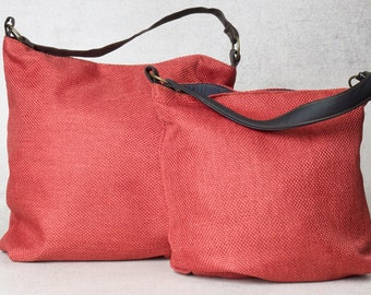 Red bag, hobo shoulder bag, over shoulder bag, canvas shoulder bag, canvas hobo bag, womens shoulder bag, womens handbags