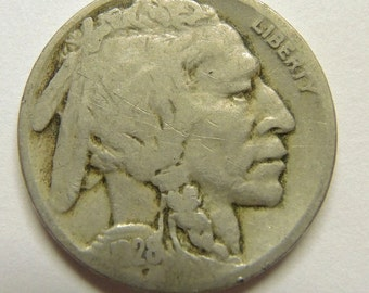 Vintage 1928 D Buffalo Nickel, Rare USA Coins, FREE Shipping