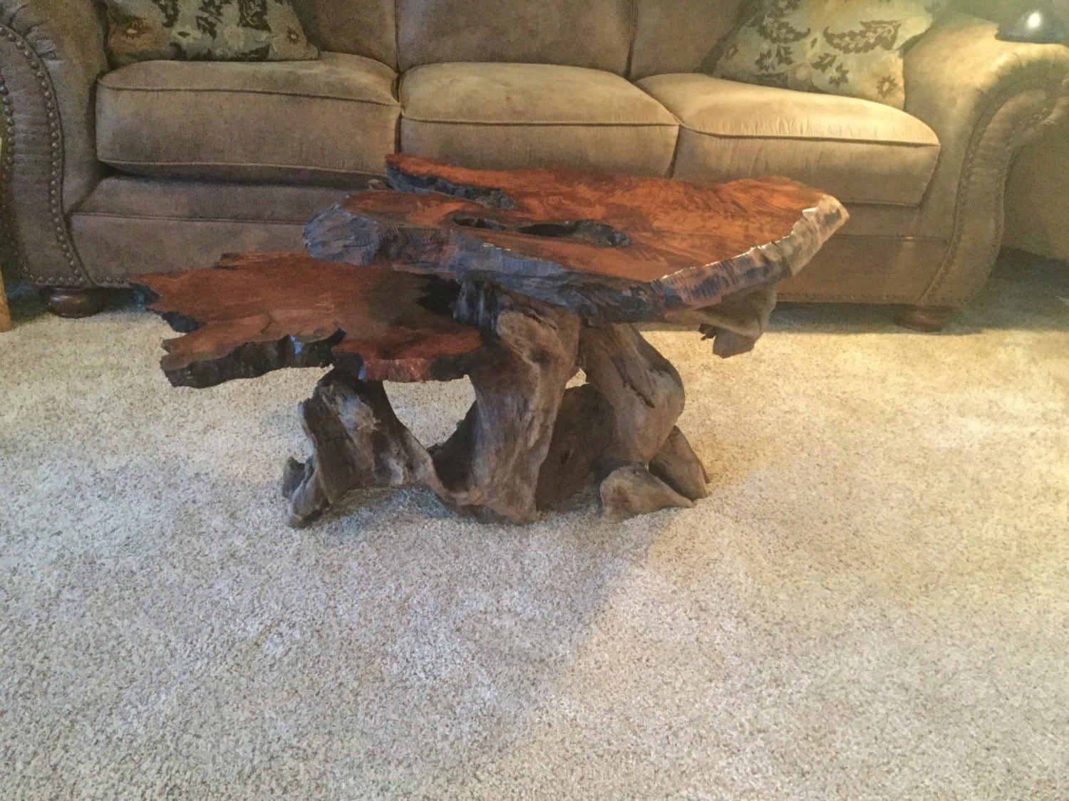 Coffee Table Two Tier Live Edge Redwood Burl With Driftwood