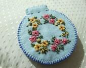 Blue Felt Hand Embroideredd Needle Case