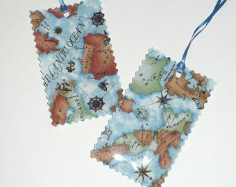 Luggage Tags, Maps, World map, Blue, Green Tan, laminated fabric, gift tag, Set of 2, Sample Sale