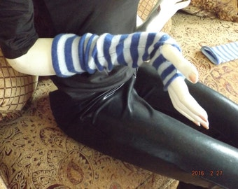 Blue Stripe Pure Cashmere Upcycled into Fingerless Mittens