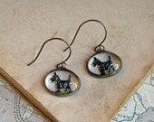 Scotty Dog Reverse Painted 1950s Glass Earrings Kitschy Jewelry