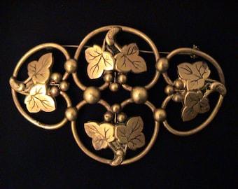 Vintage Estate Large Brass Ivy Leaf Sash Brooch