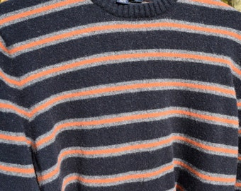 Supply - Felted Wool Sweater - Navy and Orange - Recycled Fabric Material