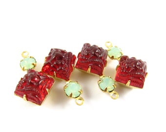 2 - Vintage Glass Dangles Square Set Stones 1 Ring Brass Prong Settings Patterned Siam Red & Chrysolite Opal 18x11mm