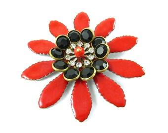 Large Vintage Multilayer Enamel Flower Red Black Crystal Clear Swarovski Rhinestone