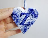 Sale - initial Z - Captal Z -Monogram - Hand painted porcelain  Heart -  Blue and white Delftware ornament