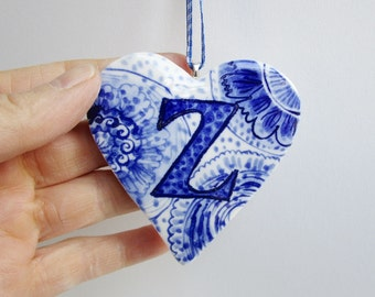 initial Z - Captal Z -Monogram - Hand painted porcelain  Heart -  Blue and white Delftware ornament