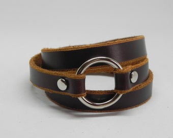 Dark Brown Wrap Leather Bracelet Leather Cuff with Metal O Ring Snap Button Clasp