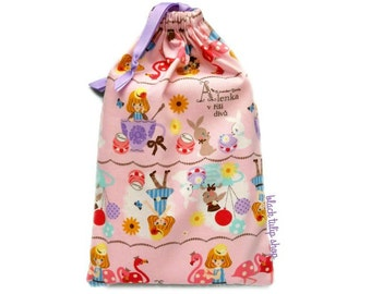 Planner Bag Drawstring Pouch Alice in Wonderland Pastel Pink Japanese Fabric Bunny Rabbit Tea Cups Flamingo Macaron March Hare