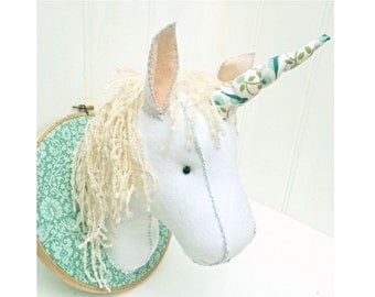Faux Taxidermy Felt Unicorn Head Pattern pdf instant download