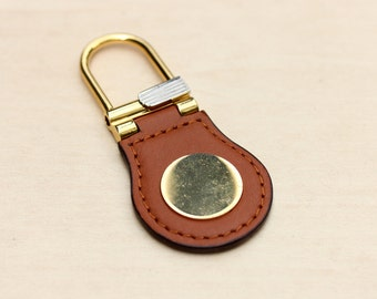 Leather Gold Keychain, Vintage Keychain, Leather Keychain, Mens Keychain, Unisex Keychain, Gold Keychain