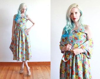 "1940s floral summer dress with shawl | size s bust 34"" waist 26"""