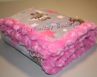 Minky Monkey Baby Blanket in Silver, Hot Pink, Blue with Hot Pink Minky Backing & Edging... Great Gift Idea...READY TO SHIP!!!