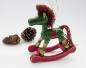 Vintage Wooden Rocking Horse Christmas Ornament  - Country Antique Russ Berrie & Co. Christmas Ornament