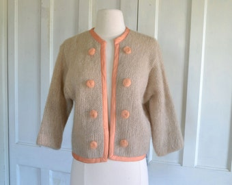 50s Wool Sweater 60s Cardigan Jacket Sweater Fuzzy Mohair Accents Open Front Cropped Ribbon Trim