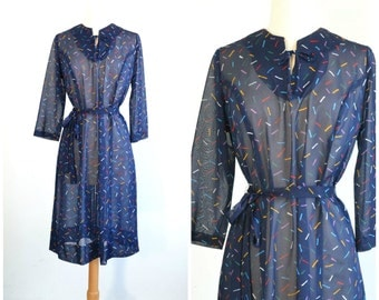 60s Vintage Sheer Shift Dress with Matching Tie Belt Crayon Colors Print - medium