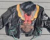 RESERVED FOR CARLSENERICA  amazing thrashed Harley Davidson biker jacket with eagle