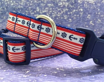 Boat Anchors and Stripes Summer Dog Collar, In M, L, XL, Choice of Buckle Color, Boating Fun
