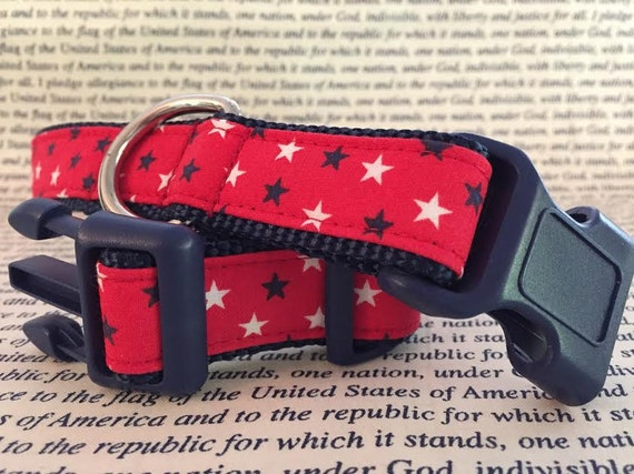 SALE - Patriotic Dog Collar - Stars on Red in Size L - Great for Memorial Day, 4th of July