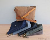Waxed Canvas Shoulder Bag with Custom Length Leather Strap, Saddle Brown Boho Canvas Purse, Plus Size Crossbody Purse, Handmade in the USA