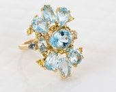 Aquamarine & Yellow Sapphire Cocktail Statement Ring in 14K Yellow Gold | One of a Kind
