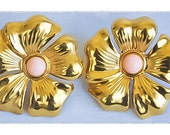 1980s Embossed Gold Tone with Pink Cabochon Flower Post Back Earrings