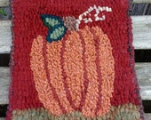 Beginner Primitive  PUMPKIN   Rug Hooking Kit with cut wool strips  FREE SHIPPING in the U.S.