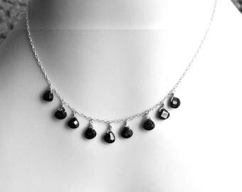 Black Statement Necklace Dainty Black Multi Stone Necklace