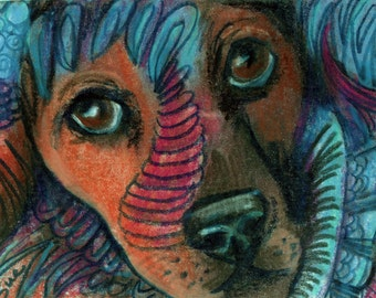 original art drawing aceo card puppy dog colorful entangle