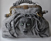 ON Sale MEDUSA Bag , Gladstone, Satchel, Doctors Bag, 30% OFF, Felted, Medusa Head, Gift Ideas, Antique Bronze Hardware,2016
