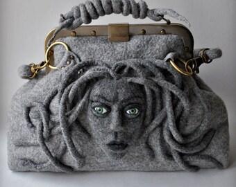 ON Sale MEDUSA Bag , Gladstone, Satchel, Doctors Bag, 30% OFF, Felted, Medusa Head, Gift Ideas, Antique Bronze Hardware,2016