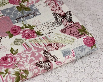 SALE Clearance 1 Yard Unique Linen Collection-Victorian Style, Retro Dark Pink Rose Butterfly Poem Collection(1 Yard)