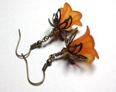 RESERVED Bridesmaid Earrings, Fall Orange Earrings, Swarovski Crystals, Wedding Earrings, Antique Brass