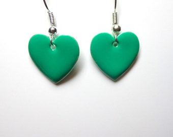 Jewelry Earrings, Green/Aqua Metal Epoxy Hearts, Heart Earrings, Earrings Heart, Silver, Spiritcatdesigns