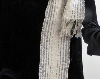 SCARF, Handwoven Cotton Rayon and Rayon Chenille,Narrow,  Soft and Flowing,White and Grey